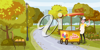 Park, seller and cart with ice cream, seller, trees. bench, background metropolis, vector illustration isolated