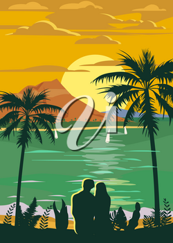 Retro Vintage style travel poster or sticker
