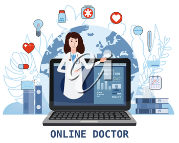 Online doctor women healthcare concept icon set. Doctor videocalling on a laptop