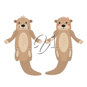 Otters cute cuple animal characters female and male