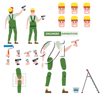 Industrial construction worker, assembly worker, installer profession worker character for animation