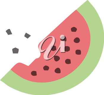 A clipart of watermelon slice with black seeds from which a bite has been taken vector color drawing or illustration