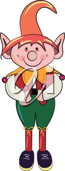 An elf wearing red hat & green pants during Christmas celebrations vector color drawing or illustration