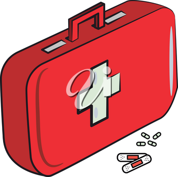 A first aid box with medical kit vector color drawing or illustration