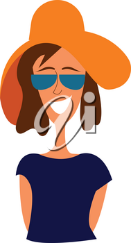Portrait of a girl in blue shirt with big brown hat and sunglasses vector illustration on white background.