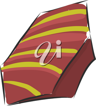 Brown and yellow wrapped candy vector illustration on white background.