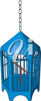 A bird cage is an enclosure often made of mesh bars or wires used to confine birds vector color drawing or illustration