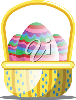 Basket full of colorful Easter eggs with pattern web vector on white background