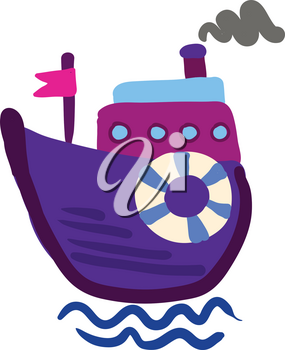 Drawing of a purple steam boat with pink flag with life preserver vector color drawing or illustration