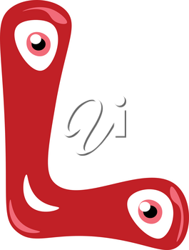 Alphabet L in red color smiling figurine with two big eyes vector color drawing or illustration