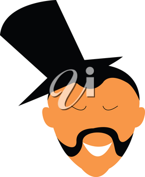 A man with wearing a top hat is sporting a mustache style known as albert vector color drawing or illustration