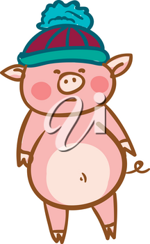 A cute baby pig is wearing a warm pompom winter hat vector color drawing or illustration