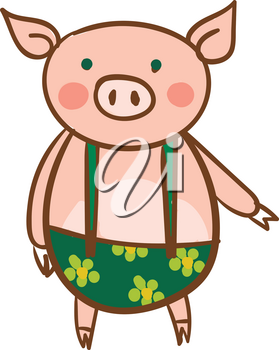 A baby pig is wearing a green and yellow suspender dress vector color drawing or illustration