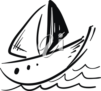 Drawing of a black and white sailor boat floating on the water vector color drawing or illustration