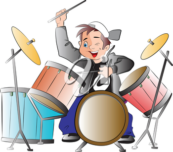 Boy Playing Drums, vector illustration