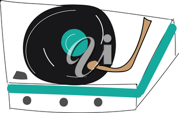 Vintage record player vector illustration on white background