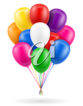celebratory balloons pumped helium with ribbon stock vector illustration isolated on white background