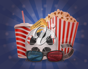 cinema concept popcorn film tickets and 3d glasses for viewing stock vector illustration
