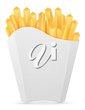 french fries in carton pack stock vector illustration isolated on white background