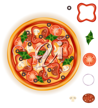 big round pizza with cheese tomato salami olive champignon onion stock vector illustration isolated on white background