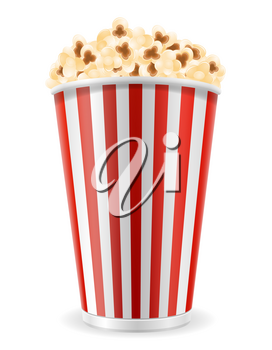 popcorn in striped cardboard package stock vector illustration isolated on white background