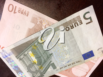 Foreign money cash bills on table euro