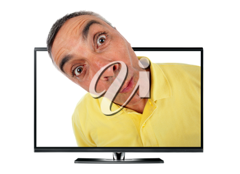Surprised man with television and WOW expression on white backgound.