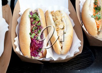 Various types of Hot Dog with sausage and vegan ingredients