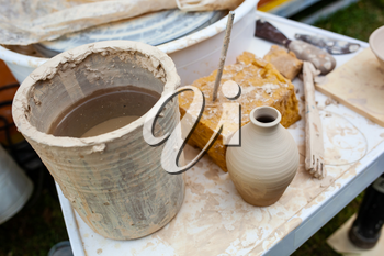 Various tools for working with clay.
