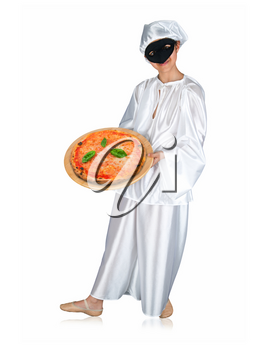 Pulcinella, traditional neapolitan mask with pizza on white background