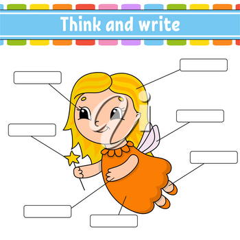 Tooth Fairy. Think and write. Body part. Learning words. Education worksheet. Activity page for study English. Isolated vector illustration. Cartoon style.