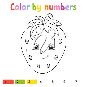 Color by numbers strawberry. Coloring book for kids. Food character. Vector illustration. Cute cartoon style. Hand drawn. Worksheet page for children. Isolated on white background.