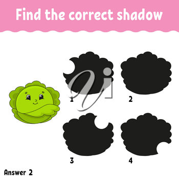 Find the correct shadow cabbage. Education developing worksheet. Matching game for kids. Activity page. Puzzle for children. Cartoon character. Isolated vector illustration.
