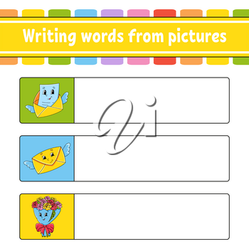 Writing words from pictures. Envelope, bouquet. Education developing worksheet. Activity page for kids. Puzzle for children. Isolated vector illustration. Cartoon characters.