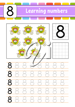 Trace and write. Handwriting practice. Learning numbers for kids. Education developing worksheet. Activity page. Isolated vector illustration in cute cartoon style.