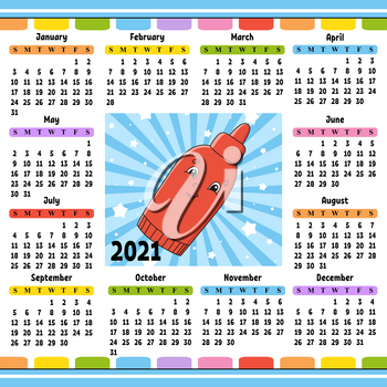 Calendar for 2021 with a cute character. Fun and bright design. Isolated color vector illustration. Cartoon style.
