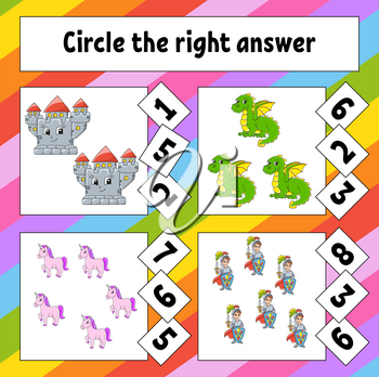 Circle the right answer. Education developing worksheet. Activity page with pictures. Game for children. Color isolated vector illustration. Funny character. Cartoon style.