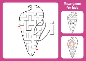 Abstract maze. Game for kids. Puzzle for children. Labyrinth conundrum. Find the right path. Education worksheet. With answer.