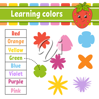 Learning colors. Education developing worksheet. Activity page with pictures. Game for children. Isolated vector illustration. Funny character. Cartoon style.