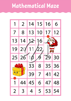 Mathematical rectangle maze. Game for kids. Number labyrinth. Education worksheet. Activity page. Riddle for children. Cartoon characters.