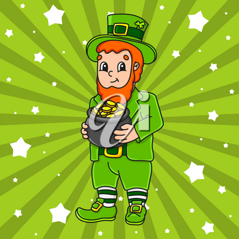 Cute cartoon character. St. Patrick's day. Colorful vector illustration. Isolated on color background. Template for your design.