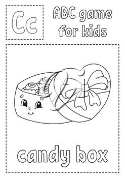 Letter B is for bouquet. ABC game for kids. Alphabet coloring page. Cartoon character. Word and letter. Vector illustration.