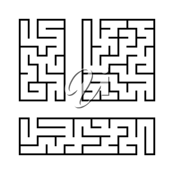 A set of mazes. Game for kids. Puzzle for children. Labyrinth conundrum. Vector illustration