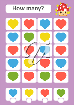 Counting game for preschool children. The study of mathematics. How many items in the picture. Color hearts. With a place for answers. Simple flat isolated vector illustration