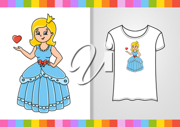 T-shirt design. Sweet princess. Cute character on shirt. Hand drawn. Colorful vector illustration. Cartoon style. Isolated on white background.