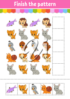 Finish the pattern. Cut and play. Education developing worksheet. Activity page. Cartoon character.