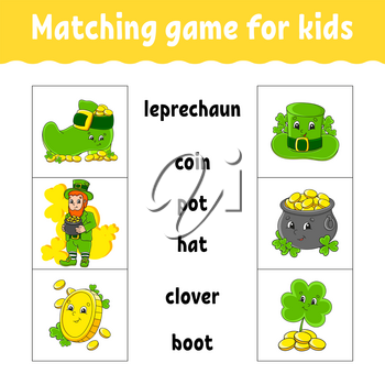 Matching game for kids. Find the correct answer. Draw a line. Learning words. Activity worksheet. St. Patrick's day. Cartoon character.