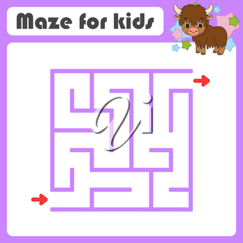 Square maze. Game for kids. Animal yak. Puzzle for children. Cartoon style. Labyrinth conundrum. Color vector illustration. Find the right path. The development of logical and spatial thinking.
