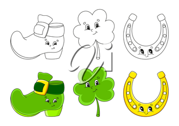 Set coloring page for kids. St. Patrick's Day. Leprechaun boot. Clover shamrock. Golden horseshoe. Cute cartoon characters. Black stroke. Vector illustration. With sample.