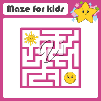 Funny maze. Game for kids. Puzzle for children. Cartoon style. Labyrinth conundrum. Color vector illustration. Find the right path. The development of logical and spatial thinking.